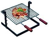 Griglia per barbecue in ferro battuto con manici in legno - 40X40 cm.