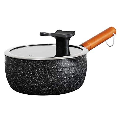 Olla para cocinar Cazuelas Cacerola antiadherente con tapa de vidrio Cacerola para leche Cacerola segura para leche con mango largo resistente al calor para la cocina casera o el restaurante