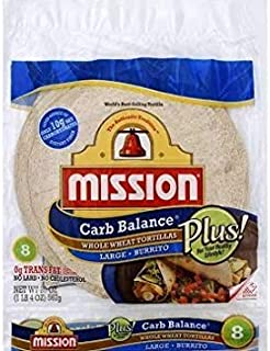 Mission 10 Inch Carb Balance Whole Wheat Tortillas LARGE Burrito 8 ct 20 oz Pack of 3 Total of 60 oz Kosher Certified