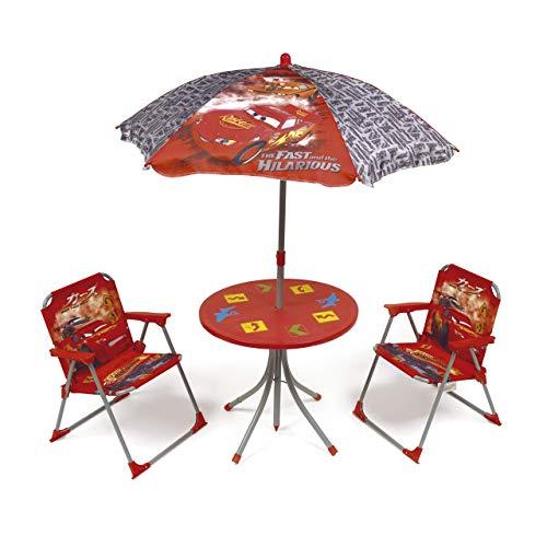 Table parasol et 2 chaises Disney Cars - Set 4 pièces