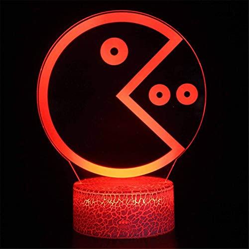 Pac Man Lámpara de ilusión 3D para adolescentes, regalos de 16 colores regulables con USB, control táctil con mando a distancia, regalos creativos para niños de 10 años
