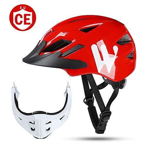 WESTLIGHT Kinderfahrradhelm Integralhelm 47-56CM, Leicht Luftdurchlässig Kinder BMX Helm mit 13 Lüftungsöffnungen, Fahrradhelm Schutzhelm Kinnschutz Abnehmbar Kieferschutz für Radfahren Inlinern