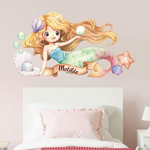 tjapalo® v144 Kinder Wandtattoo Meerjungfrau groß Wandtattoo Mädchen Name Wandsticker Kinderzimmer deko Mädchen mit Namen, Größe: B58xH29cm