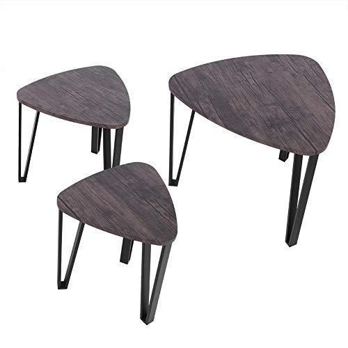 lyrlody Couchtisch Set, 3er Set Satztische Nachttisch Kaffeetisch Wohnzimmertisch Beistelltisch Sitzgruppe Niedrige Tisch Nesting Table für Haus, Hotel und Café, Metall Tischbeine+ MDF