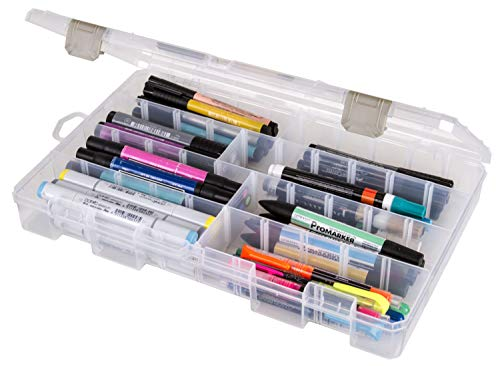 "ArtBin, Clear 5004AB Large Solutions Box with Dividers, Art & Craft Organizer, [1] Plastic Storage Case, 14.125"" x 9"""