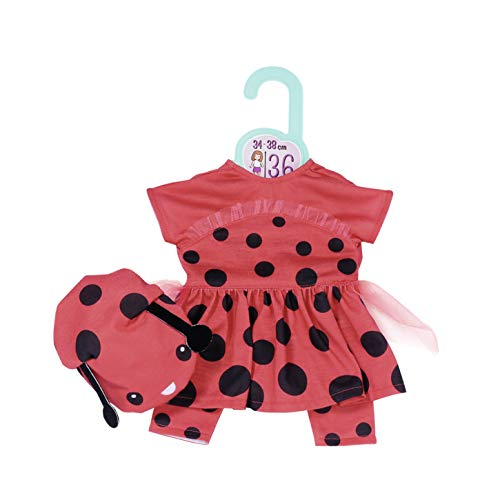 Zapf Creation 870938 Dolly Moda Süßes Marienkäfer Outfit, Puppenkleidung 36 cm