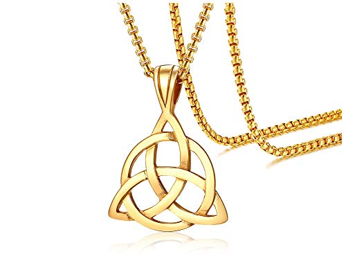 Mens Stainless Steel Irish Celtic Knot Triquetra Trinity Triangle Pendant Necklaces with 24' Box Chain