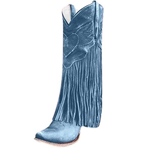 MINIKIMI Stiefeletten Fransen Damen Halbhohe Stiefel Mit Blockabsatz Ankle Boots Vintage Spitz Stiefel Zipper Gummistiefel Freizeitschuhe FüR Herbst Winter (38 EU, Blau)