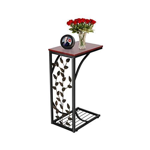 Yaheetech Tavolino Laterale da Salotto Tavolino Basso da Divano Moderno Tavolo da Caffè Comodino da Letto Portaoggetti Marrone e Nero