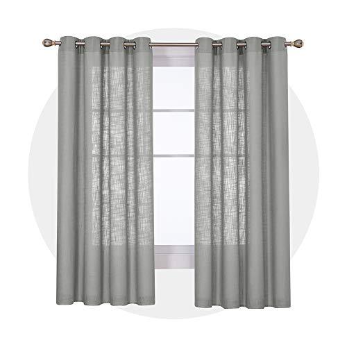 Deconovo Vorhänge mit Ösen Gardinen Wohnzimmer Leinenoptik Ösenvorhang 180x140 cm Grau 2er Set
