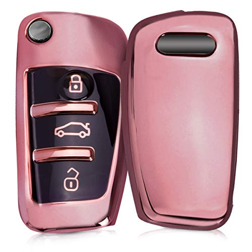 kwmobile Autoschlüssel Hülle kompatibel mit Audi 3-Tasten Klappschlüssel - TPU Schutzhülle Schlüsselhülle Cover in Hochglanz Rosegold