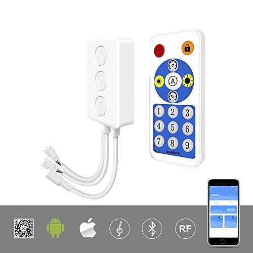 BTF-LIGHTING WS2812B WS2811 1903 Eingebauter Mic Music SP601E Bluetooth-Controller mit zwei Signalausgängen für LED-Module Pixel LED Streifen Android IOS APP / 3 Tasten/RF Fernbedienung