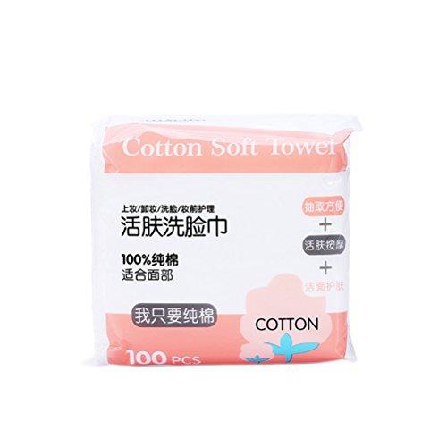 Frcolor Lot de 100 serviettes jetables en coton avec boîte de rangement