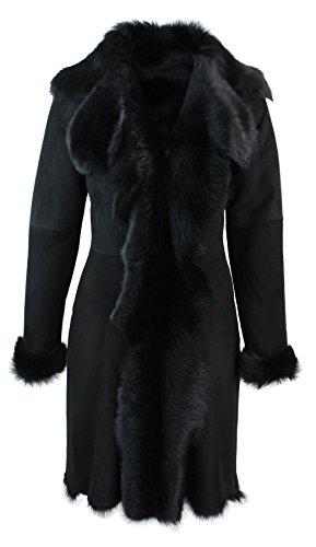 Infinity Damenjacke Echtes Schafffell Leder Schwarz 3/4 Design Mantel Spanien Toscana Fell