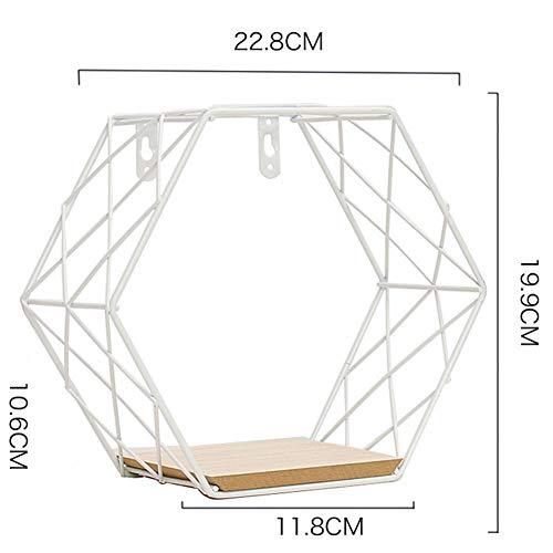 Estantes flotantes Estante de exhibición de almacenamiento montado en la pared de metal con soporte de madera Estante de pared de rejilla hexagonal de hierro duradero Combinación Colgante Geométrico,E