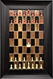 """Straight Up Chess Red Deluxe Set (2 1/2"""") Chess Pieces on Vertical Wall Hung Dark Walnut Series Board with The Wide Scoop Frame"""