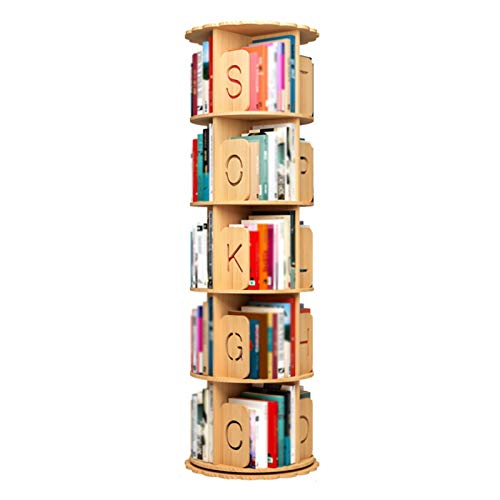 XJJUN Bookshelf, Solid Wood 360-degree Rotating Bookcase, Floor Shelf, Chassis with Enlarged Corner, Children and Students (Color : Beige, Size : 159cm)