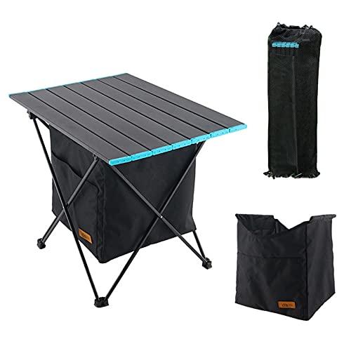 LSWZZ Mesa de Camping Plegable Pequeña Ultraligero Mesa de Acampada Portatiles con Bolsa de Transporte y Malla de Almacenamiento, Mesas de Picnic para al Aire Libre Playa Senderismo Pesca