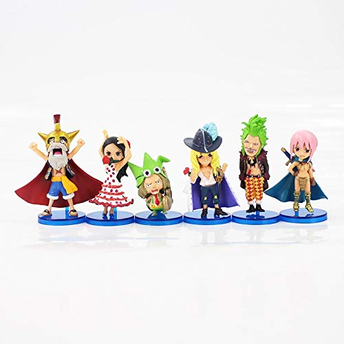 7 cm 6 unids/Lote One Piece Q versión Mini Dressrosa Luffy Lucy Chopp