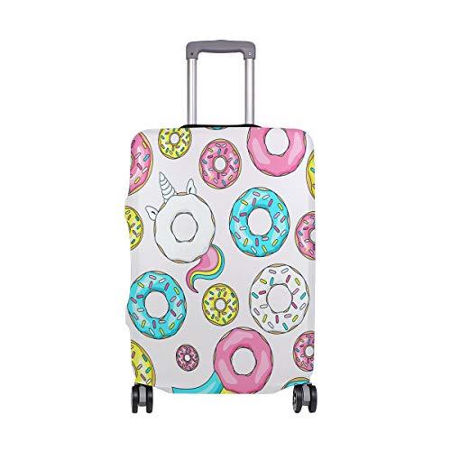 Carino unicorno ciambelle bagagli copertura protettiva Spandex viaggio valigia bagagli copertura adatta 45-50 pollici, Multicolore, M 22-24 in,