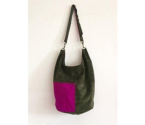 Wildledertasche damen grün fuchsie, Schultertasche leder groß, Tasche damen umhängetasche wildleder, Schultertasche groß, Italienische handtaschen leder gross, Frauentasche groß, BBagdesign.