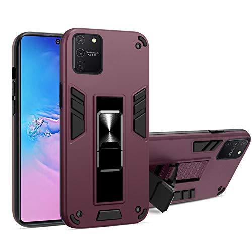 LUSHENG Compatible con Funda para Samsung Galaxy A91/M80s/S10 Lite, Protección Militar Doble [TPU + PC] con Funda Magnética Invisible para Soporte para Galaxy A91/M80s/S10 Lite 6.7' - Vino Rojo