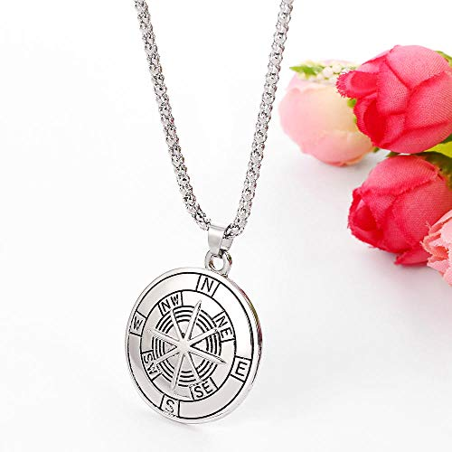 Pendant Necklace Jewelry Viking Style Compass Pendant Necklace Gold Silver Color Chain Punk Gothic Men Necklaces Jewelry Accessories Gifts For Friends-Silver_Color