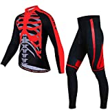PGone For Hombre de Manga Larga Ciclismo Set - Red Esqueleto de la Chaqueta del Invierno térmicas Trajes a Prueba de Viento Conjunto de Ciclismo (Size : Medium)