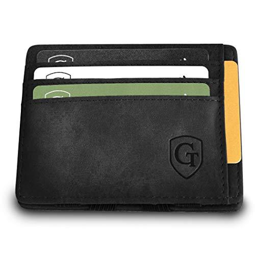 Monte Carlo Magic Wallet - das Original - TÜV geprüft - Dünne Geldbörse ohne Münzfach - Smarter Geldbeutel - Slim Portemonnaie - Geschenk für Herren u. Damen mit Geschenkbox (Schwarz - Soft)