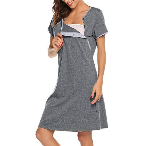 Stillnachthemd Umstandsnachthemd Knopfleiste Kurzarm Nachthemden für Schwangere und Stillzeit Umstands Nachthemd Schwangerschaft S-XXL