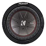 Kicker 43CWR82 CompR 8 Inch 2 Ohm 300 Watt RMS Power and 600 Watts Peak Power Dual Voice Coil Car Audio Sub Subwoofer, Black