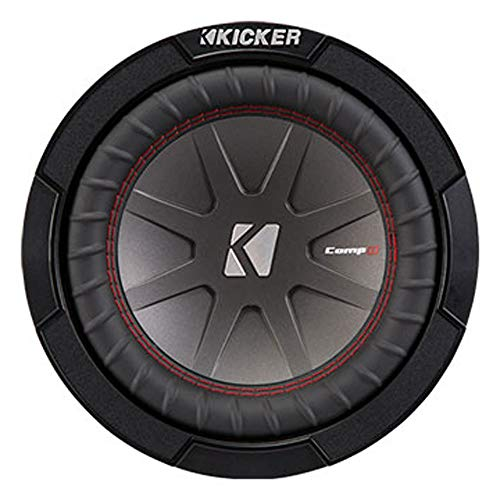 Kicker 43CWR82 CompR 8 Inch 2 Ohm 300 Watt RMS Power and 600 Watts Peak Power Dual Voice Coil Car Audio Sub Subwoofer, Black