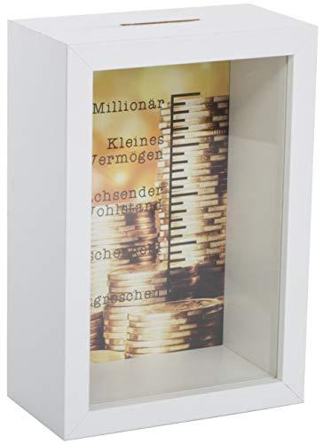 Brandsseller Hucha Millionary con diseño de marcos de fotos con ventana y escala
