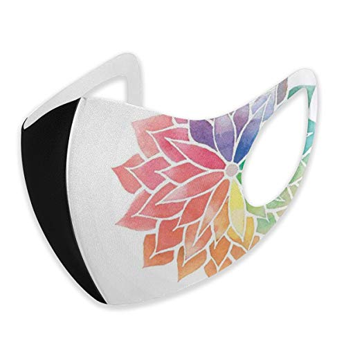 Mehrfachverwendbare Gesichtsbedeckung,Watercolor Style Flower Design Artistic Petals On Off White Backgroundunisex S,Atmungsaktiver, wiederverwendbarer Anti-Staub-Mundschutz Gesichtsschal