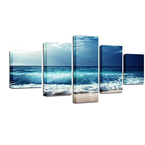 ruiqin Pôster de impressão em tela HD, arte de parede para sala de estar, 5 peças de ondas azuis antes da tempestade pinturas paisagem marítima imagens modulares decoração de casa 40x60 40x80 40x100 cm sem moldura