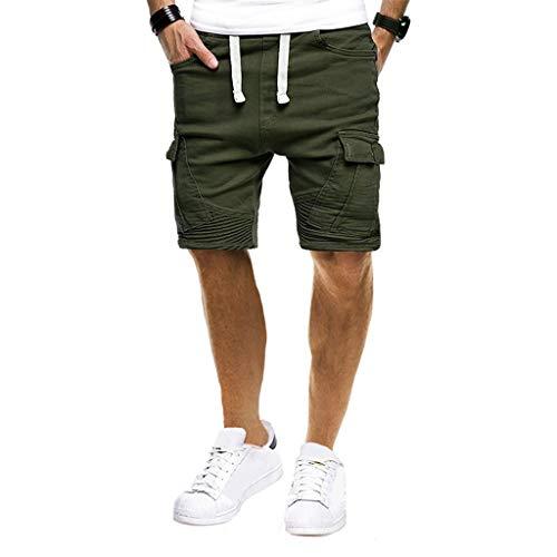 ZEELIY Herren Sport Pure Color Bandage Beiläufige Lose Jogginghose Kordelzug Shorts Hose
