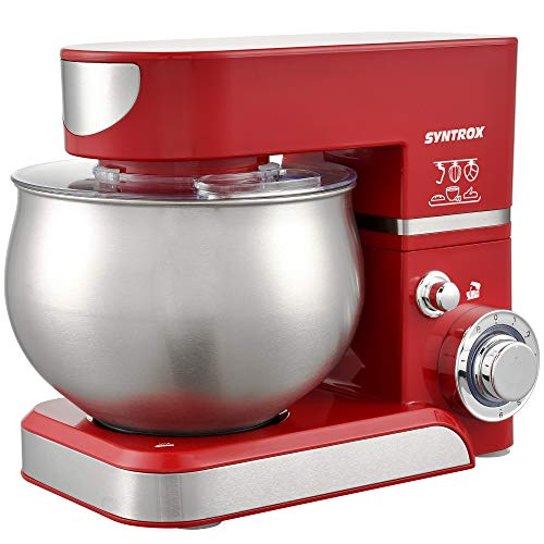 Syntrox Germany KM-5.0L Basic Red Robot de cuisine avec récipient en acier inoxydable Rouge 5 l