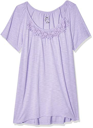 Just My Size Women's Plus-Size Slub Crochet Trim Tunic, Salty Purple, 3X