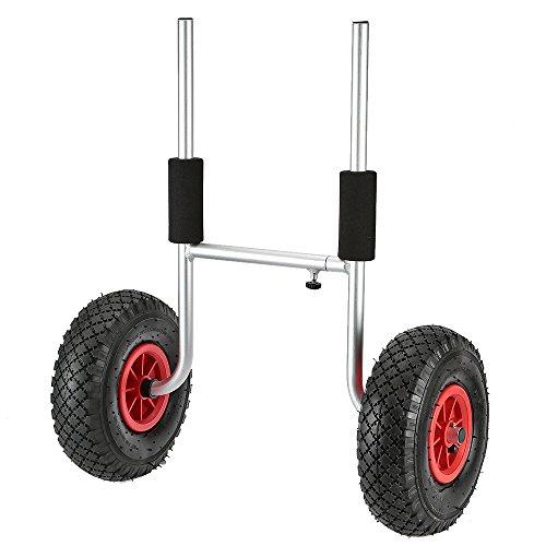 Un gran carro para que usted pueda transportar su kayak. Caballetes de aluminio, muy resistente y duradero. Los neumáticos de goma neumáticas grandes ruedan suavemente a través de la arena, la grava, y por carretera. Las partes superiores de las pati...