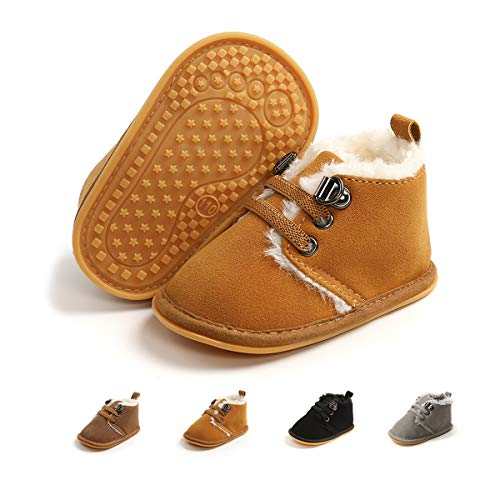 Jinara Baby Winter Snow Boots Warm Shoes Anti-Skid Ankle Booties Newborn Infant Crib Boots (White-2) 12-18 Months