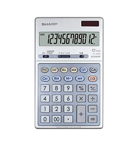 Sharp EL-339H Weergave bureaurekenmachine (12-cijferig LCD-display) zilver