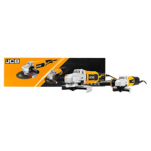 JCB 850W and 2100W Angle Grinder Twin Set - JCB 850W Angle Grinder, 115mm Blade Size and JCB 2100W Angle Grinder, 230mm Blade Size - for Cutting, Grinding, Rust Removal, Polishing, Metalwork, Welding