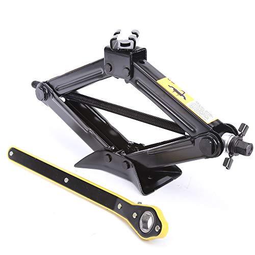 LEADBRAND Black Scissor Lift Jack, 1.3 Tons (2866lbs.) Capacity with Strength-Saving Design Handle, Rachet Handle