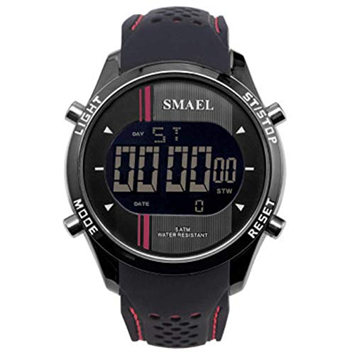 SXXYTCWL Reloj de Deportes al Aire Libre Impermeable de Pantalla única de múltiples Funciones del Reloj de los Hombres electrónicos jianyou (Color : E)