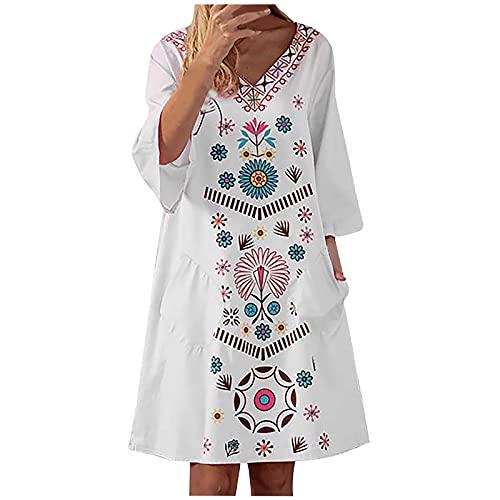 FOTBIMK Vestidos para mujer con cuello en V de manga corta hasta la rodilla vestido estampado geométrico vestido suelto