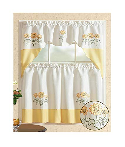 All American Collection Modern Contemporary 3pc Embroidered Home Kitchen Window Treatment Curtain Set (Swag Valance, Yellow Sunflower)