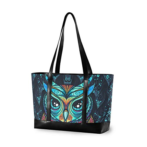 Large Woman Laptop Tote Bag - Owl With Tribal Ornament Canvas Shoulder Tote Bag Fit 15.6 Inch Computer Handbag For Work School Trekking Shopping