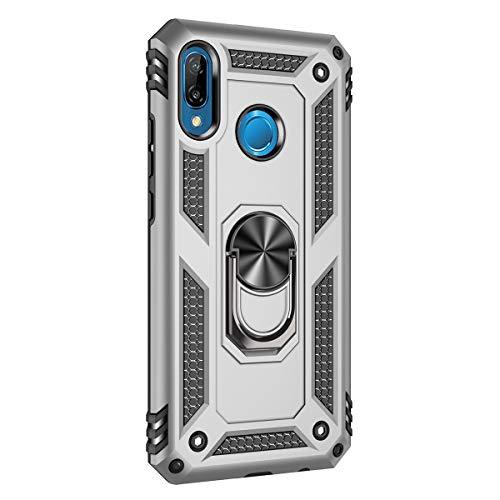 Hicaseer Capa para Huawei P20 Lite, policarbonato + TPU antiqueda antichoque anti-arranhões magnético rotação de 360 graus capa completa para Huawei P20 Lite - Prata