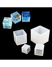 FineInno 4 Pz Molde Cuadrado de Resina Moldes de Silicona En Cubo Collar Pendiente Herramientas Fabricación de Joyas de Fundición de Resina Moldes