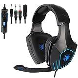 Enzos Professioneller Gaming Kopfhörer, LED-Licht Stereo Sound Mikrofon mit Rauschunterdrückung und Lautstärkeregler 3,5mm Gaming Headset, für Laptop, PS4, Xbox one, PC(Schwarz blau)